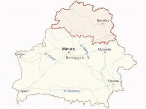 Границы Витебской области на общей карте Белоруссии