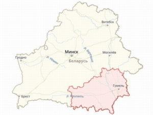 Границы Гомельской области на общей карте Белоруссии