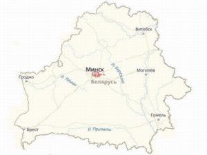 Границы Минска на общей карте Белоруссии