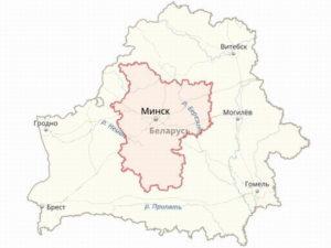 Границы Минской области на карте Белоруссии