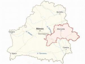 Границы Могилёвской области на общей карте Белоруссии