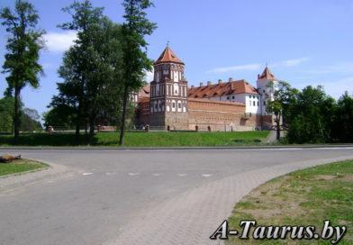 Вид на Мирский замок с дороги