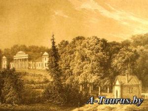 Вид главного фасада дворца Тышкевичей, Литография с рисунка