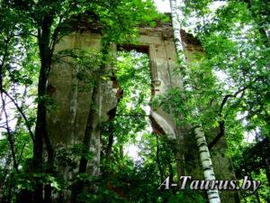 Передний план руин дворца Тышкевичей спереди